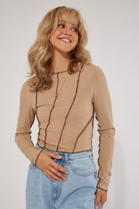 Luck & Trouble Exposed Seam Top Nude