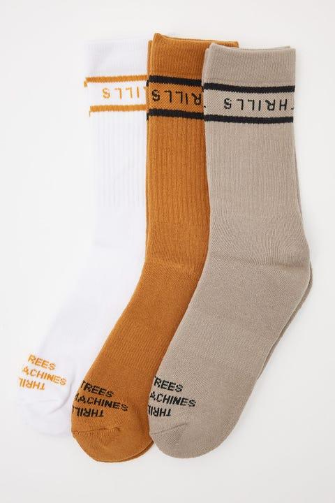 Thrills Minimal Socks 3 Pack Spice Brown/Gravel/White