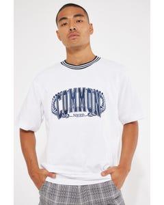 Common Need Creed Ringer Boxy Tee White/Navy