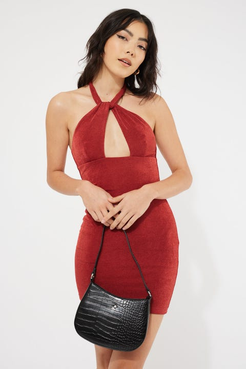 Luck & Trouble Real Love Halter Mini Dress Rust