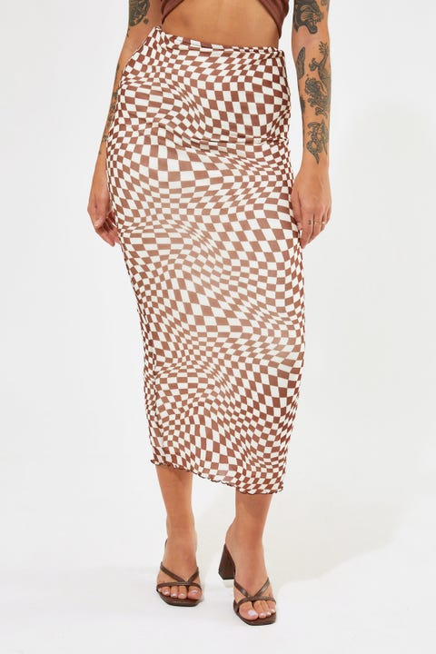 Luck & Trouble Checkerboard Mesh Midi Skirt Brown Print