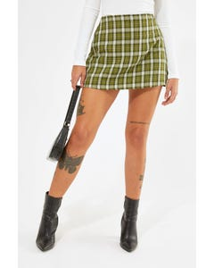 Luck & Trouble Found You Mini Skort Olive Check