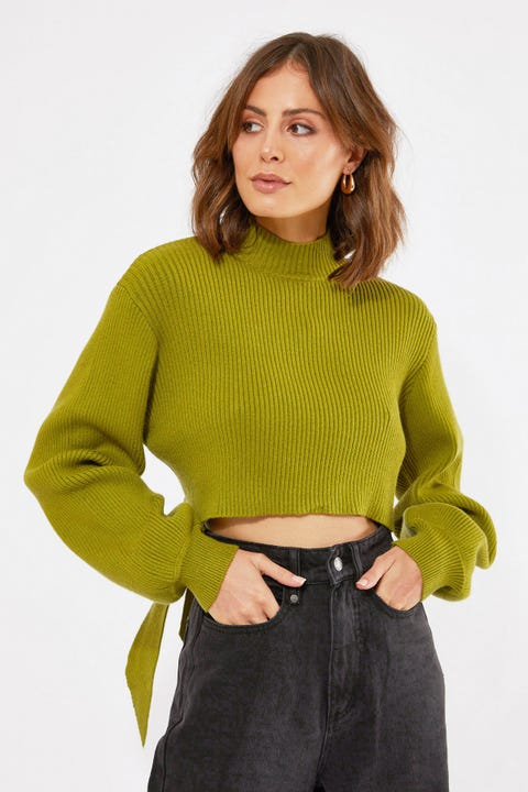 Perfect Stranger Open Tie Back Knit Green