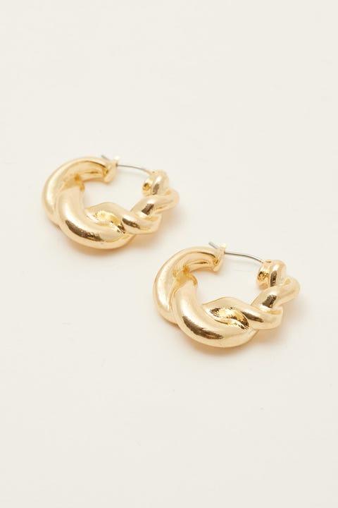 Token Twisted Hoop Earring Gold