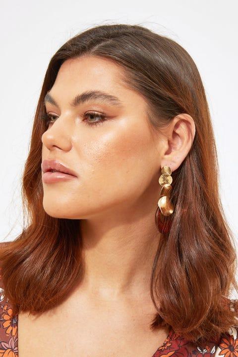 Token Amber Acrylic Drop Earring Gold