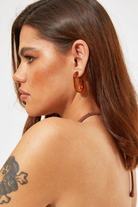 Token Joanna Acrylic Hoop Earring Brown