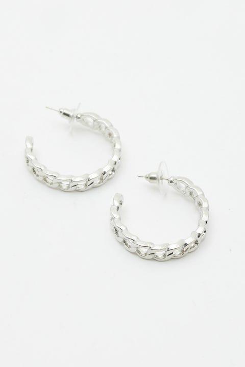 Token Silver Link Hoop Earring Silver