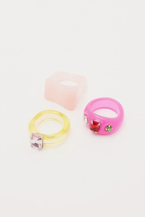 Token Juicy Pink Resin Ring Pack Multi