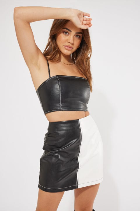 Perfect Stranger Colour Block Mini Skirt Black White