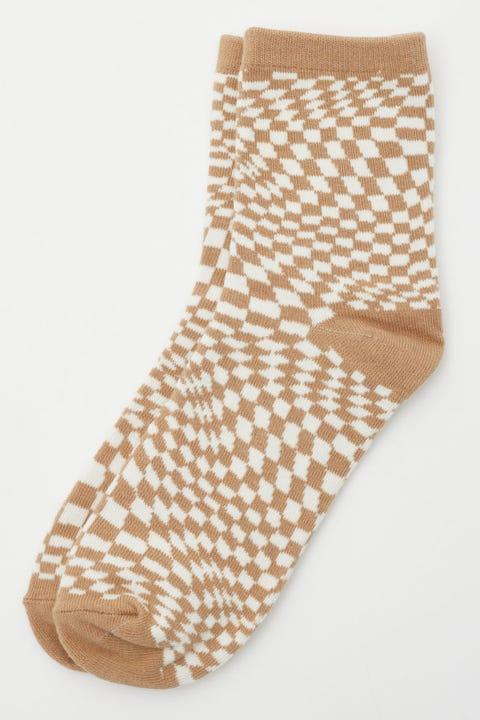 Token Warped Check Sock Warped Check