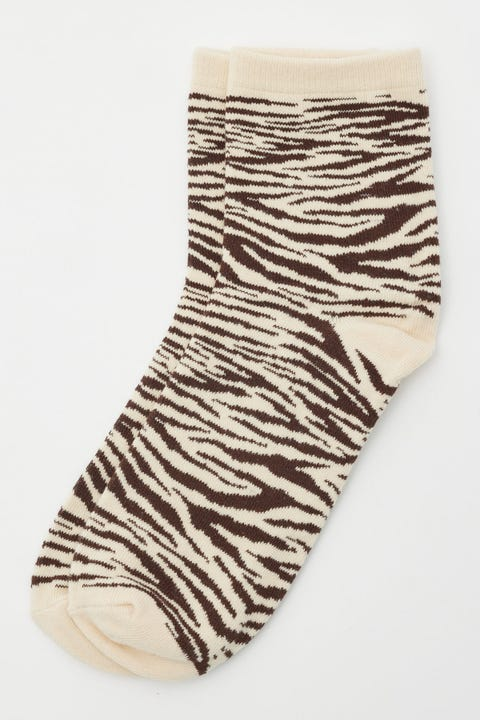 Token Brown Zebra Sock Brown Print