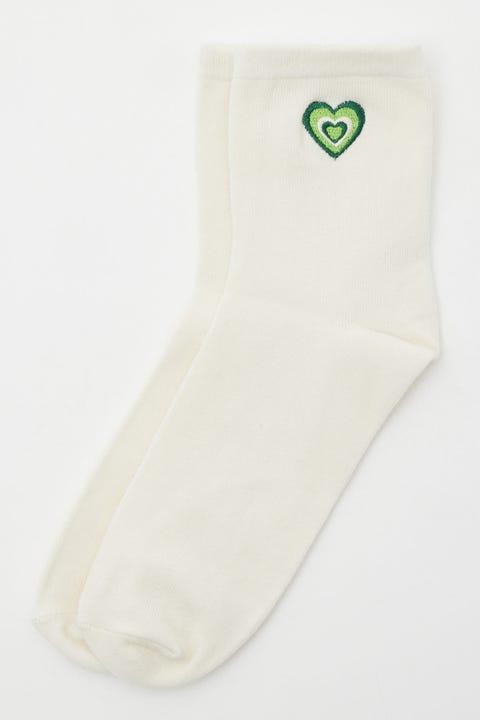 Token Green Heart Sock White