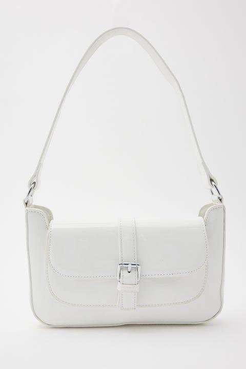 Token Patent Buckle Bag - White White