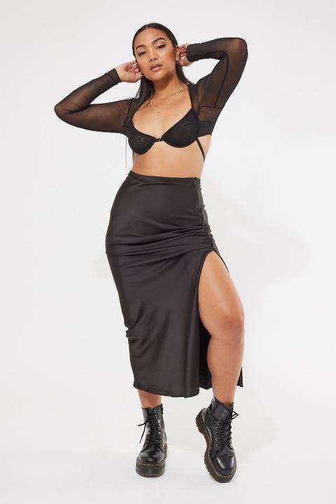 Perfect Stranger Satin Maxi Skirt Black