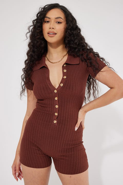 Luck & Trouble Collared Playsuit Brown