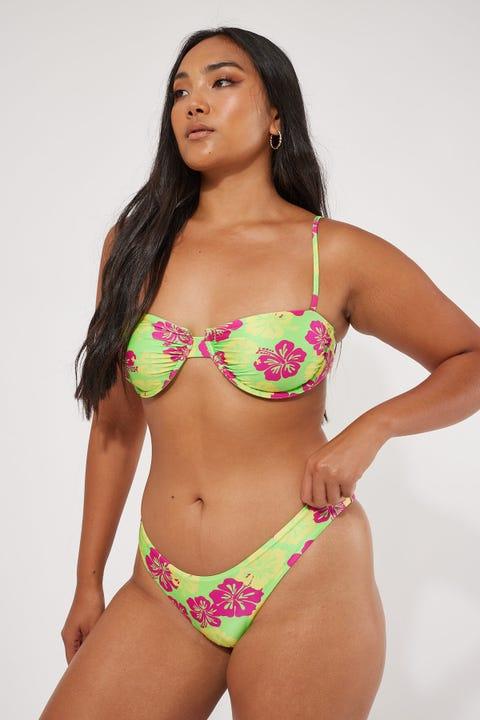 Luck & Trouble Wild Paradise Bikini Bottom Green Hawaiian