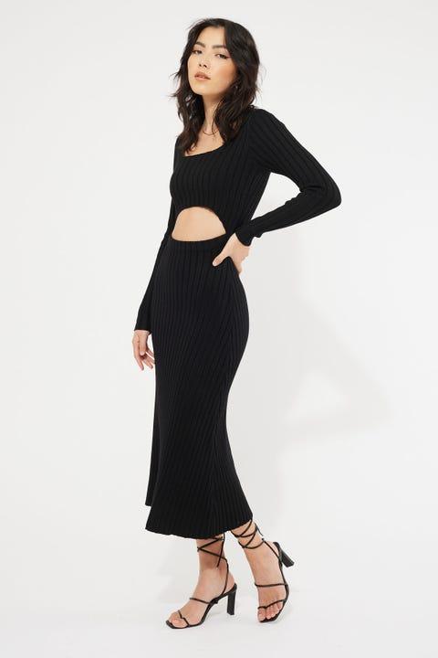 Lioness Main Squeeze Midi Dress Black