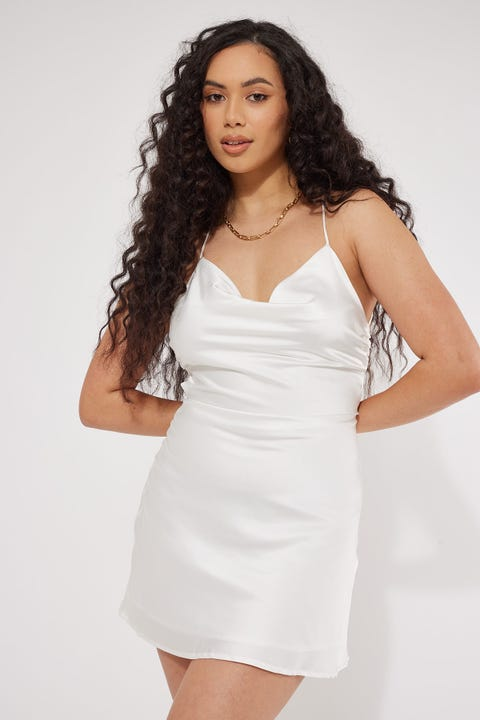 Luck & Trouble Lace Up Mini Dress White