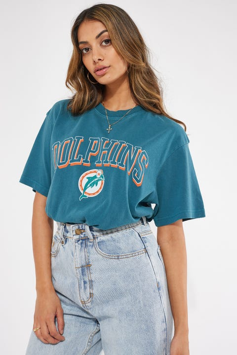 Mitchell & Ness Vintage Dolphins Keyline Logo Tee Faded Teal