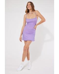 Luck & Trouble Cowl Neck Swirl Mesh Dress Purple Swirl