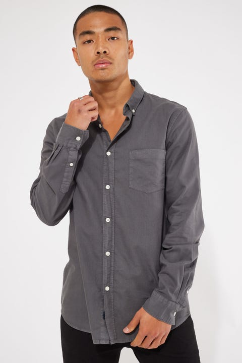 Academy Brand Vintage Oxford LS Shirt Slate