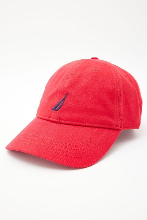 Nautica 6 Panel Buckle Hat Deck Red