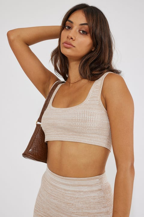 Perfect Stranger Two Tone Knit Crop Nude