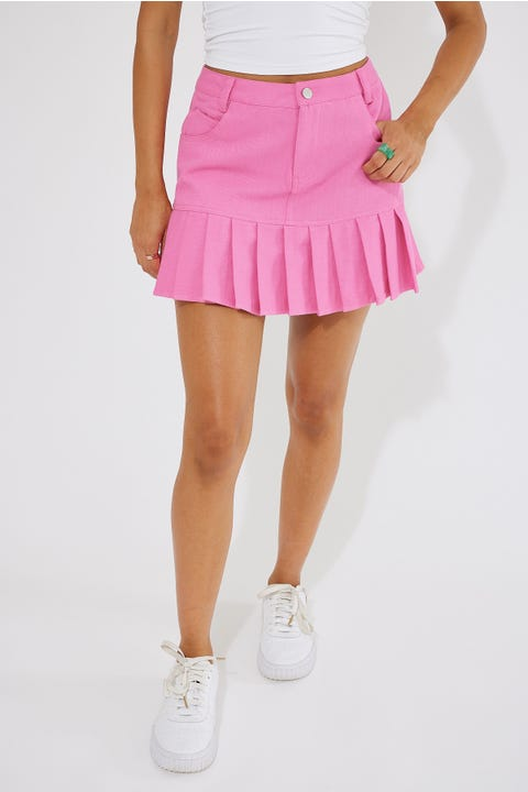 Luck & Trouble Mid Rise Pleated Mini Skirt Pink