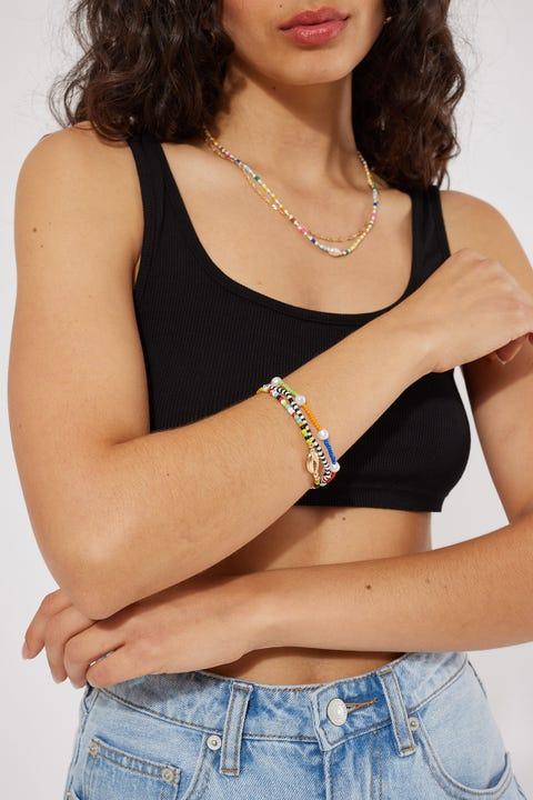 Token Bead and Shell Bracelet Pack Multi