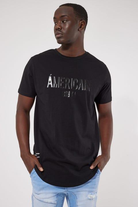 Americain Ca Ca Va Vient Dual Curved Tee Jet Black