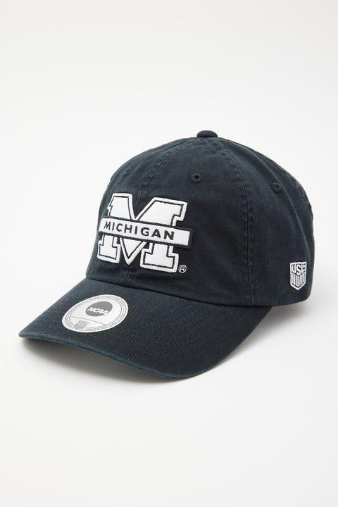 Ncaa Michigan Logo Dad Hat Black/White